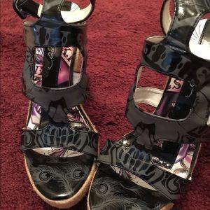 NWOT Ed Hardy black ankle wrap wedges